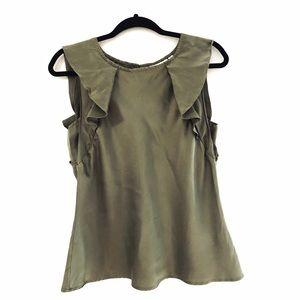 Kenar Olive 100% Silk Ruffle Sleeveless Top Size S